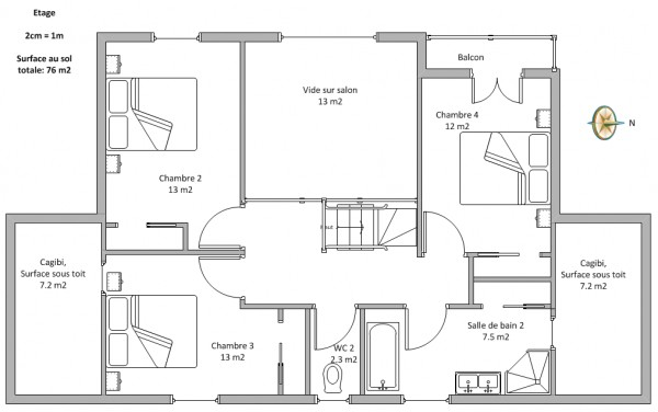 Plan Maison Etage 100m2 Ipsita Co
