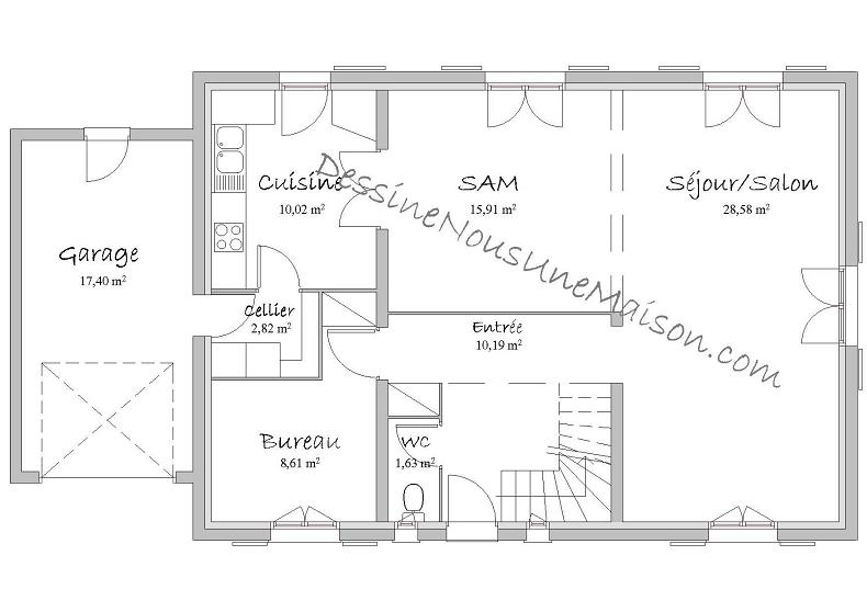Plan Maison Plain Pied 70m2 Of De Traditionnelle Gratuit