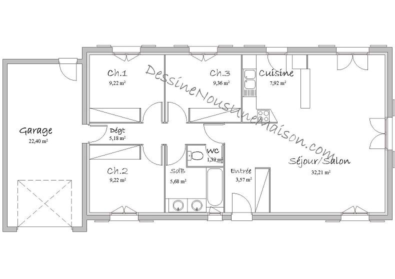 Plan Maison Plain Pied 80m2 2 Chambres Great M Politify Us