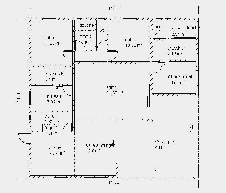 Plan Maison Plain Pied 90m2 0 Mod Le 90 M T4 Modulable T5 Scarr Co