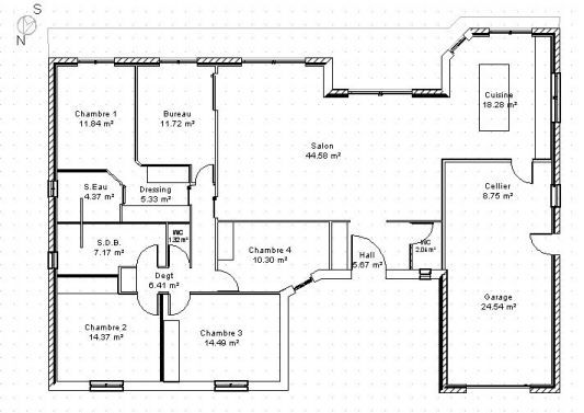 Plan Maison Plain Pied En U Home Decor Pinterest