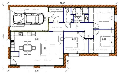 Plan Maison Sans Couloir Avis 90m Garage Choosewell Co Ipsita
