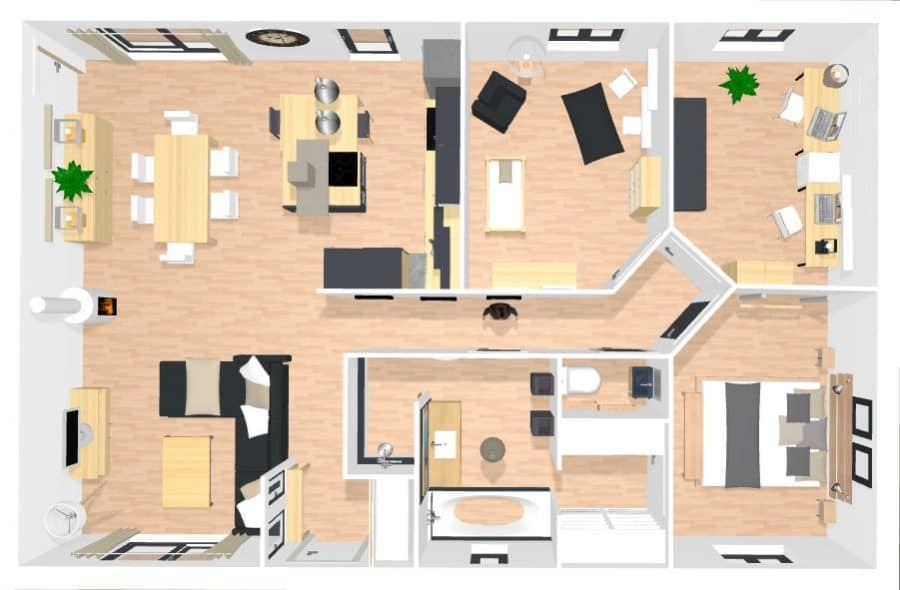 Plan Maison Simple 3 Chambres 3d Finest Salon