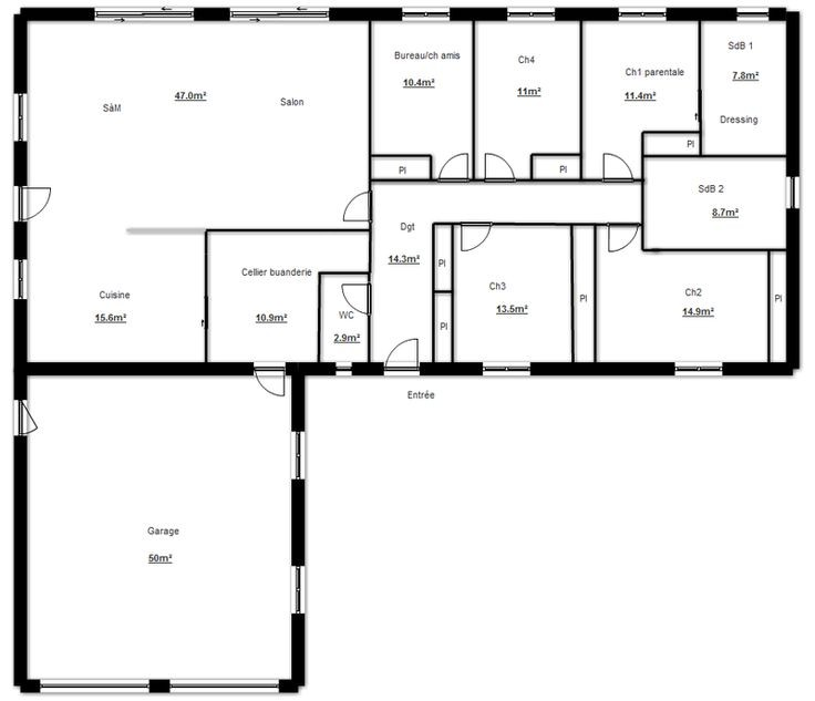 Plans De Maison En L Plan Construction Spa Ambershop Co Individuelle