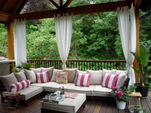 Porch With Large Cushioned Bench And Curtains Workshop