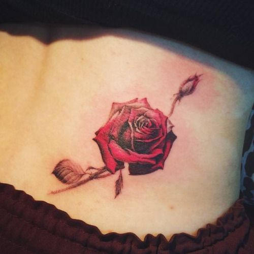 Red Rose Tattoo On The Right Lower Back Artist Doy
