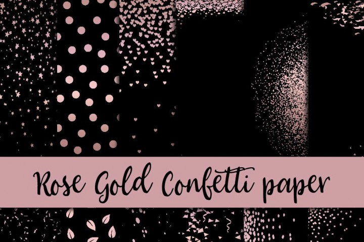Rose Gold Confetti Digital Paper By Fantasy Cliparts TheHungryJPEG Com