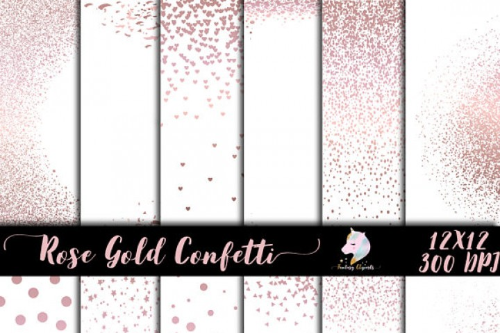 Rose Gold Confetti Overlay Clipart By Fantasy Cliparts