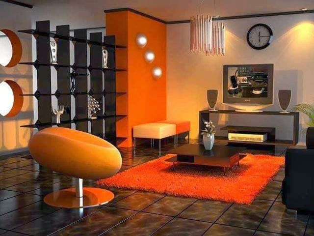 Sala Naranja Con Marron Salas Pinterest Colores Color