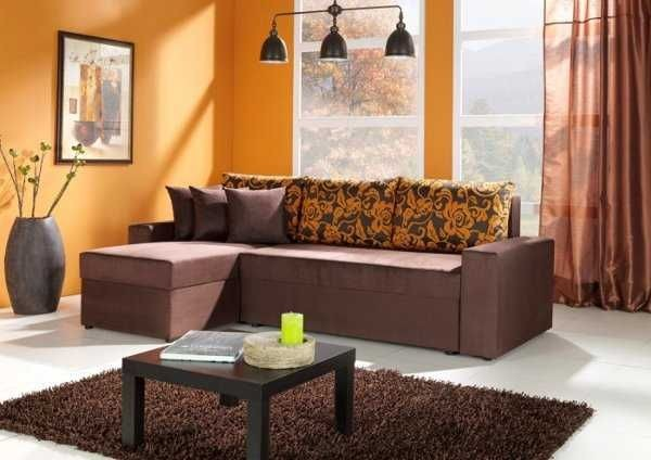 Salas De Colores Vivos Sofa Chocolate Con Naranja Paredes La