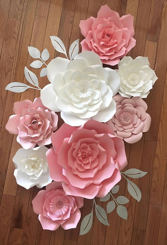 Set Of 8 Mixed Sizes Giant Paper Flower Nursery Customize Your