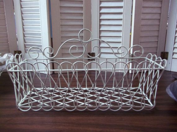 Shabby Chic Soft White Wire Basket Hierro Forjado Y