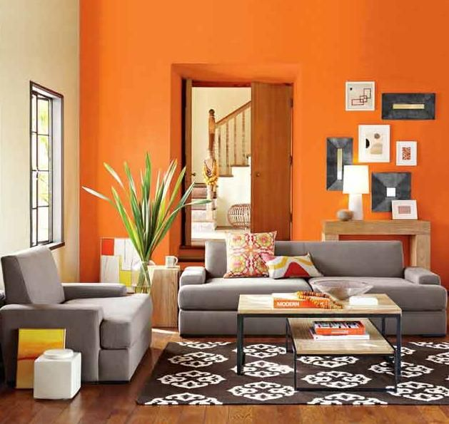 Sofa Chocolate Con Naranja Paredes In 2018 Home Decor