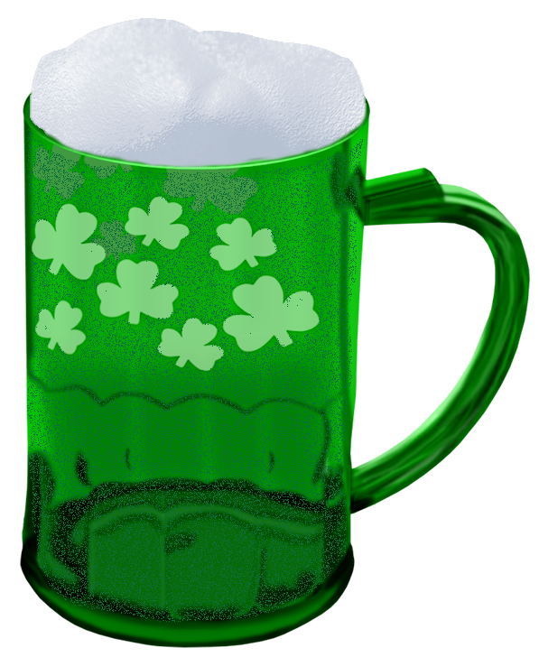 St Patrick Green Beer With Shamrocks PNG Picture Gallery