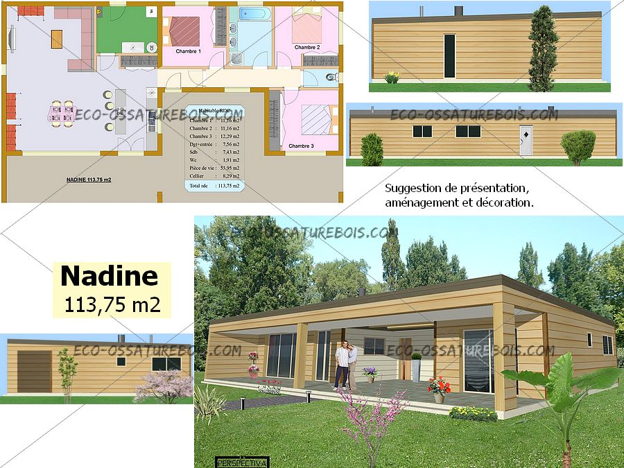 Plan Maison 110m2 Plein Pied Luxe Bois Moderne 2 Chambres ...