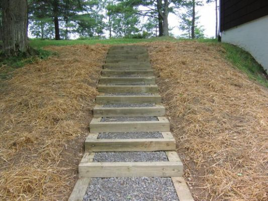 Timber Stairs On Steep Slope Landscaping Steps Ideas