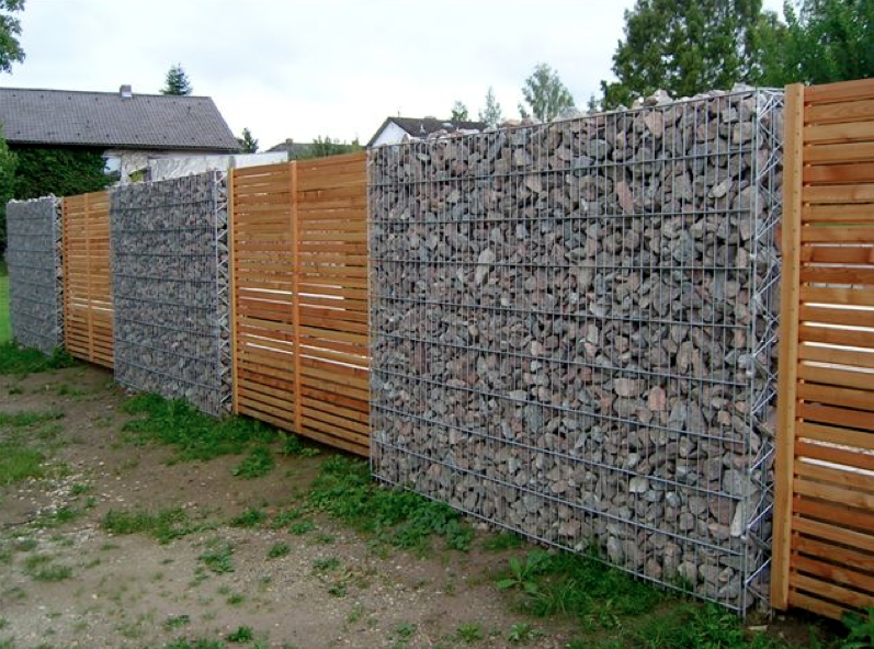 Very Cool Gabion Basket And Wood Slats Fence Pinterest