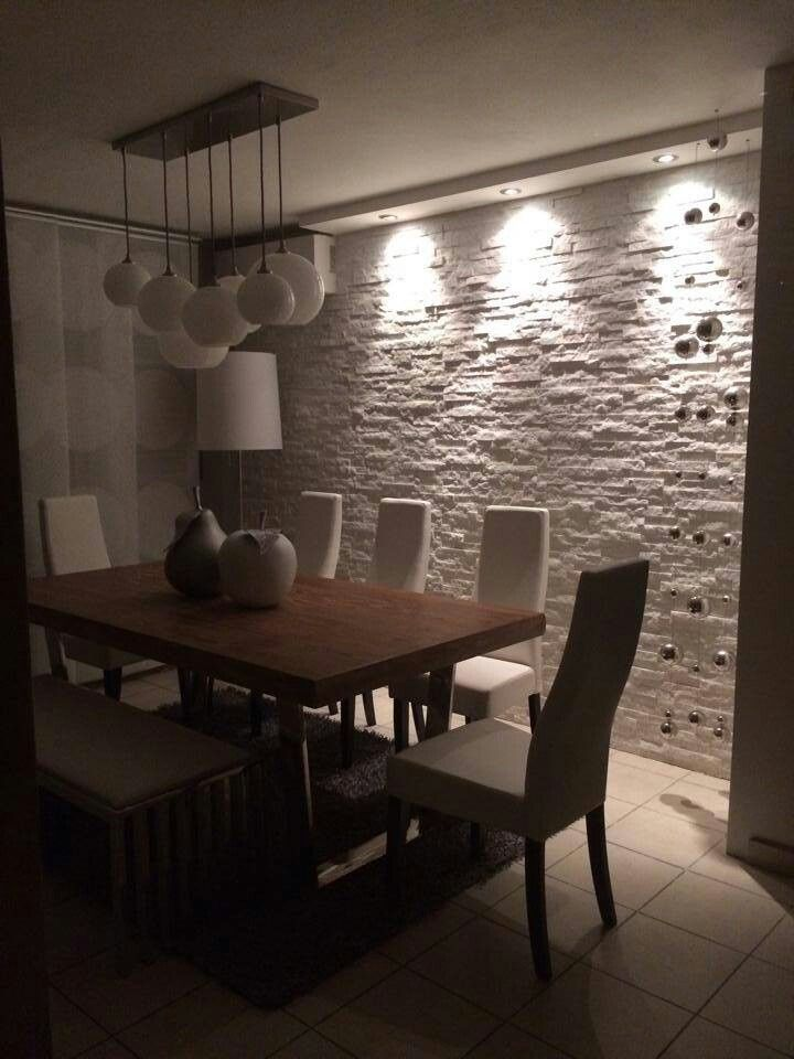 Want This White Stone Accent Wall In The Dinning Area To Match