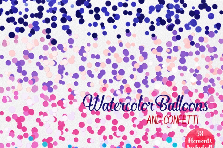 Watercolor Balloons Party Confetti Graphics By ClipartBrat