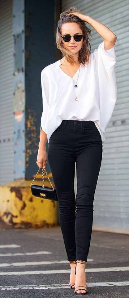 White Loose Blouse And High Waist Black Skinnies O U T F I S
