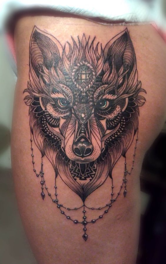 Wolf Front Thigh Tattoo Ideas Pinterest Tatuajes Y Animales