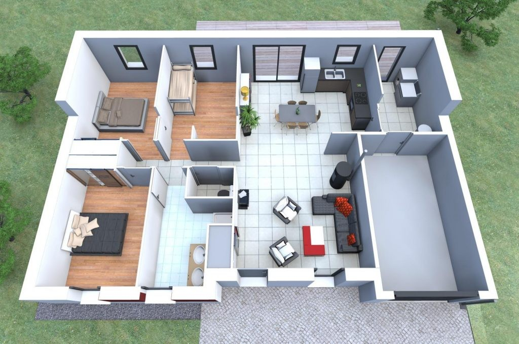 Plan De Maison Moderne 3d Homewreckr Co