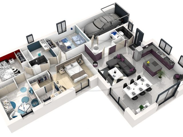 Plan Maison En U Elegant 3d Contemporaine Business Et Politify Us