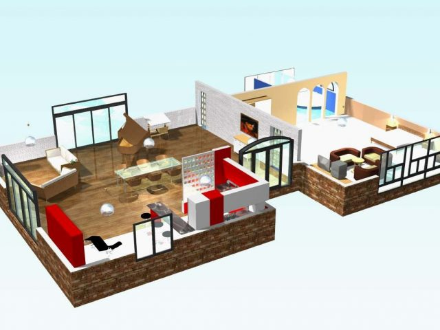 Plan Maison En U Elegant 3d Contemporaine Business