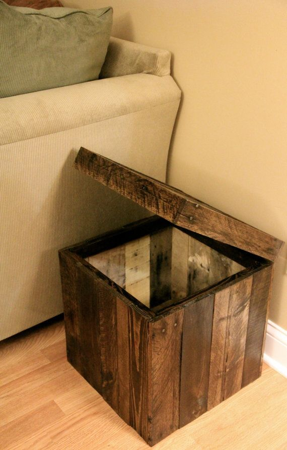 Reclaimed Pallet Wood Furniture Storage Cubed Ottoman Stained