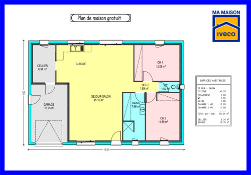 Traditionnel Plan Maison Plain Pied 3 Chambres Gratuit Plans De